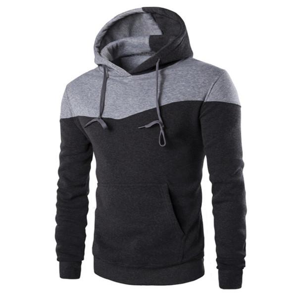 Мода Мужские толстовки с длинным рукавом пуловер Толстовки Мужская одежда Зима Осень хип-хоп мужчины с капюшоном Sudaderas плюс размер M-2XL