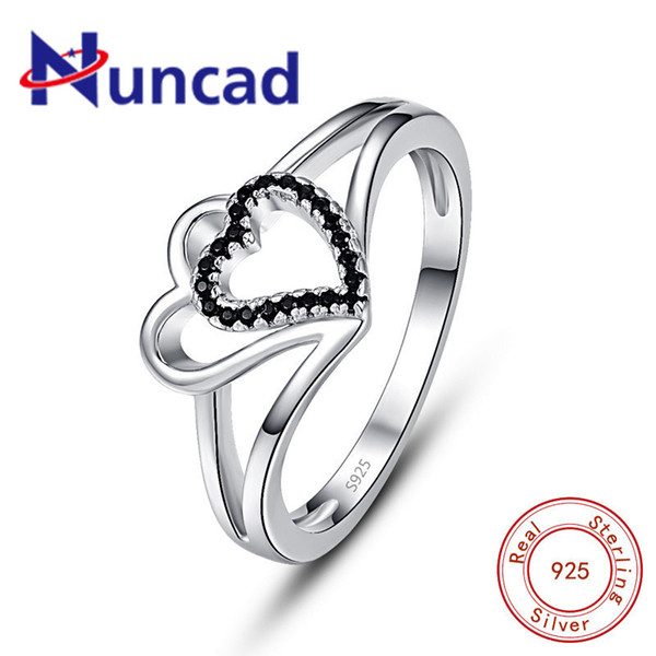 wholesale New Style 925 Sterling Silver Lovely Hollow Double Heart Black CZ Finger Ring For Women Wedding Engagement Jewelry