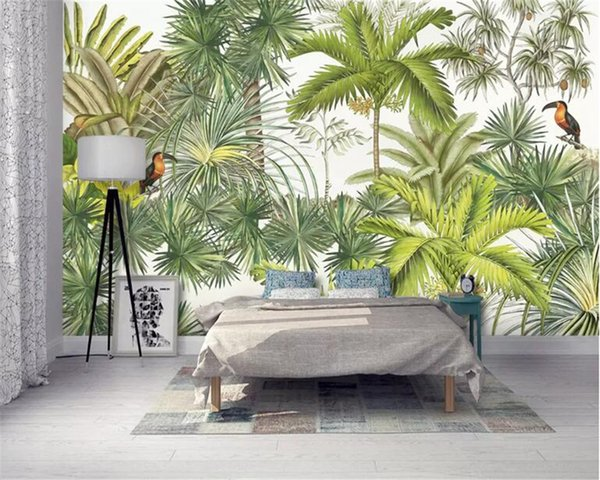 Beibehang personnalisé papier peint peinture murale arbre murale oiseau plantain arbre de noix de coco moderne peint à la main européenne mur papier peint fond