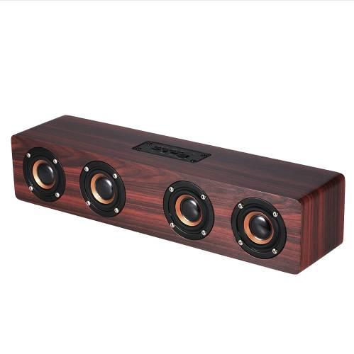 Portable Wireless Wooden Speaker 12W Bluetooth 4.2 Super Bass Subwoofer Aux 3.5mm Computer speakers with Mic for smart phones