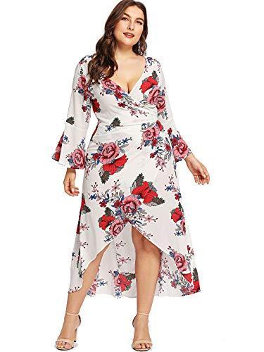 43a94844fa8 Milumia Plus Size Floral Wrap Maxi Evening Dress Night Out Empire ...