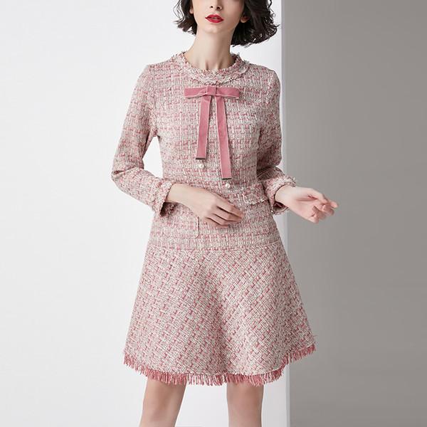 Le donne di marca di stile dell'Italia si vestono in lana a maniche lunghe primavera e autunno vestito di lana per abiti da ragazza moda femminile vestido vestir