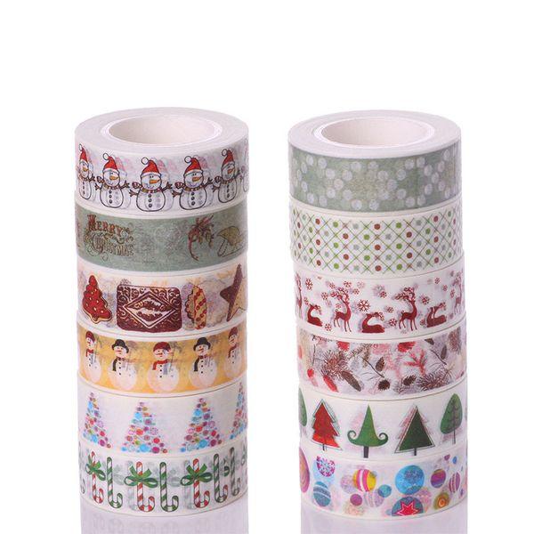 Nastro di Natale Confezione regalo Nastro di ancoraggio Nastro adesivo Confezione regalo Cartone animato Fai da te Pasta decorativa Babbo Natale Giappone e carta gratis
