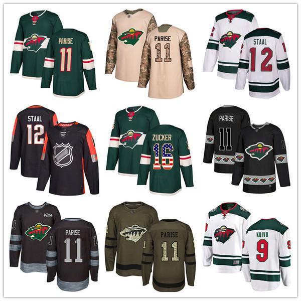 top popular Custom Minnesota Wild Jersey 16 Jason Zucker 11 Zach Parise 24 Matt Dumba 9 Mikko Koivu 12 Eric Staal USA Flag hockey jerseys 2019