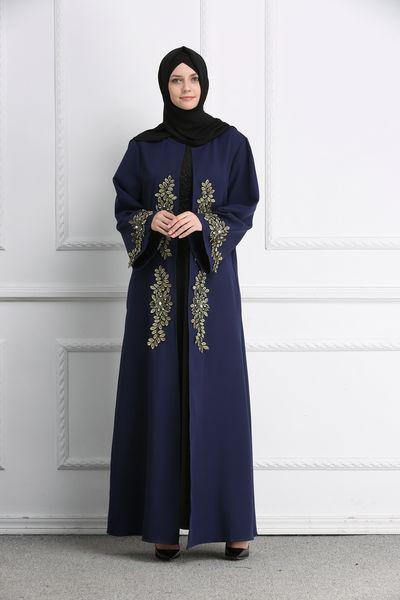 Moroccan Caftan Evening Dresses Navy Blue Muslim Evening Gowns Long Sleeves Appliques Formal Dress Elegant 2019 Prom Dresses Dubai Abaya