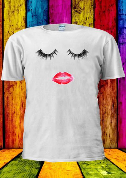 Eyelashes Lash Lipstick Mascara Lips T-shirt Vest Tank Top Men Women Unisex 2018 New Short Sleeve Men 100% Cotton Family Top Tee