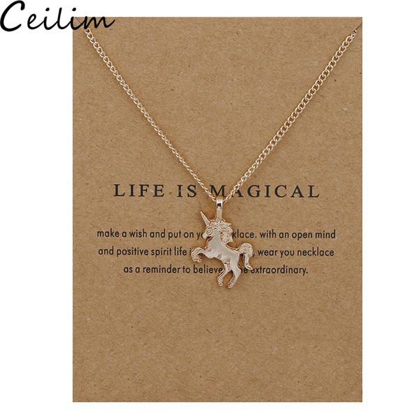Caballo de plata nuevo colgante de oro de la aleación del collar de cadena pendiente de Gargantilla Collar con el regalo de la tarjeta de joyería al por mayor para las mujeres La vida es mágica