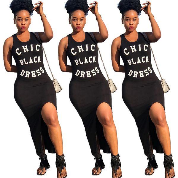Femmes Chic Noir Robe Lettres Imprimé Sans Manches Gilet Réservoir Split Robes Longues Plage Casual Club Maxi Jupe Vêtements De Conception D'été C42601