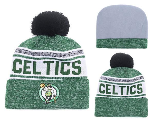 2018 5 Colores celtics baloncesto Deporte con puño de punto Boston Gorros Calidad del casquillo del invierno de los hombres de Skullies Pom bordado Gemelos hicieron punto los sombreros