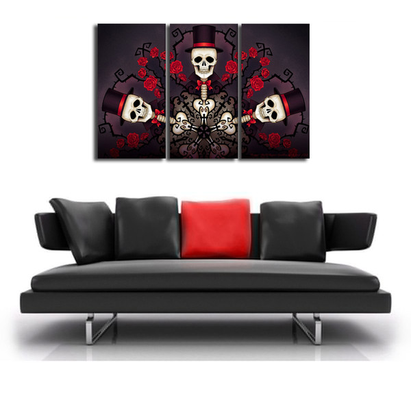 Skull Rose Hat,3 Pieces Canvas Prints Wall Art Oil Painting Home Decor (Unframed/Framed) .