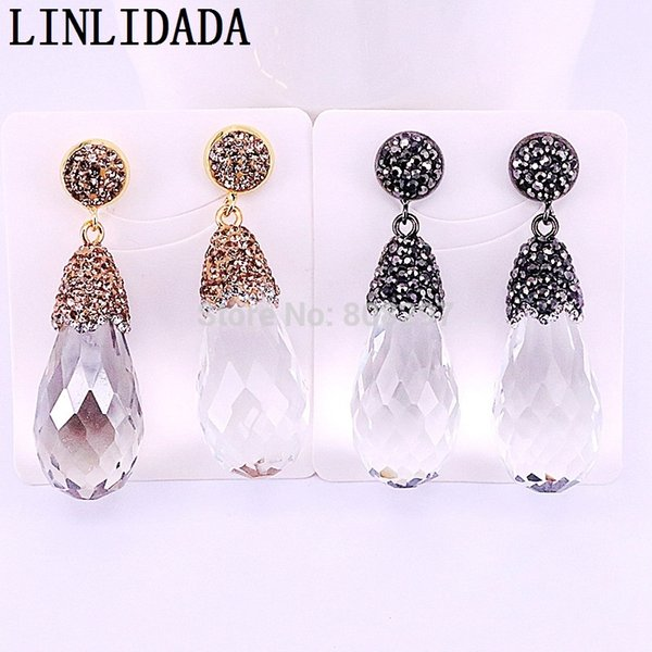 4Pairs Fashion faceted Clear crystal quartz stone dangle earrings pave rhinestone charm drop shape gems jewelry for women