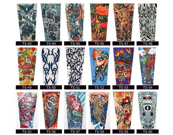 Fashion Men And Women Tattoo Arm Leg Sleeves High Elastic Nylon Halloween Party Dance Party Tattoo Sleeve Men's Arm Warmers Men's Accessories Anti