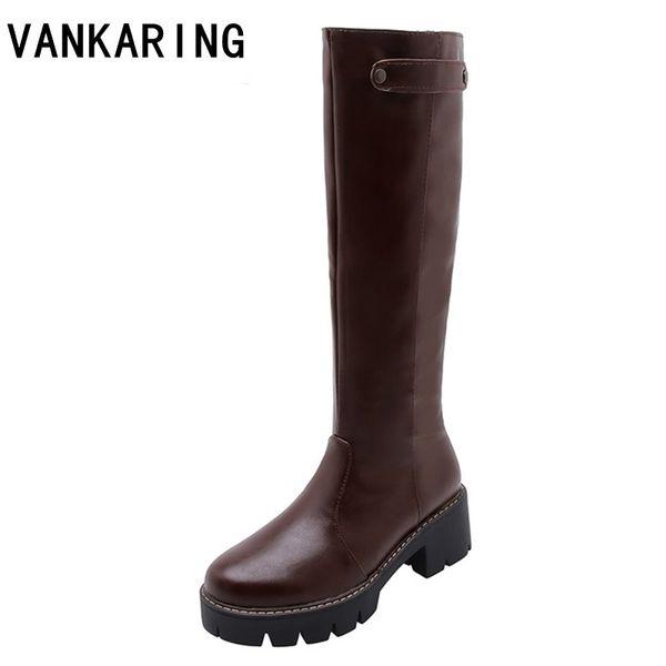 klassische neue Mikrofaser-Leder kniehohe Stiefel zipper Reiten Schneeschuhe Herbst Winter Schnee Modeplattform weibliche Schuhe