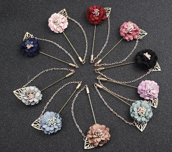 Flor de la camelia Boutonniere Stick Leaf Broche con la cadena Pin Mens Suit Suit Accesorios Mujer solapa Pin Broche mejores regalos