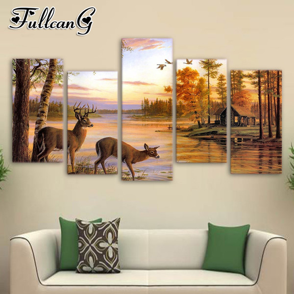 Venta al por mayor 5 unidades diy diamante pintura otoño paisaje ciervos cuadrado / taladro redondo 5d mosaico bordado multi-imagen FC693