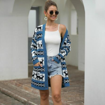 Femmes Designer Cardigan imprimé animal Pull de filles jeunesse Marque Casual Hauts mi-long chandail manteau 2019 nouvelle tendance Style Explosion