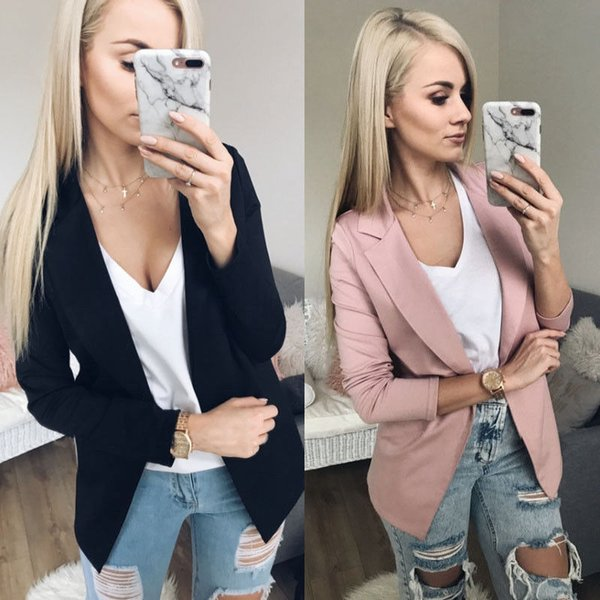 Fashion Womens Blazers Slim Solid Suit Blazer Office Lady Casual One Button Blazers Long SLeeve Solid Women Outwear