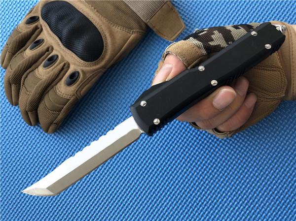 Outdoor-Ausrüstung Double Action Hellhound Tanto Campingmesser D2 Stahl Satin Plain Aluminiumgriff Spartan Survival Hunt Taktische Messer P83Q F