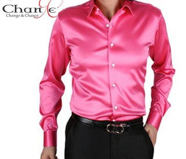 -Quality Mens Shirts Fashion Satin Silk Men Long Sleeve Shirt Solid Color 20 Men Dress Shirt S-3XL Plus Size blusa masculina