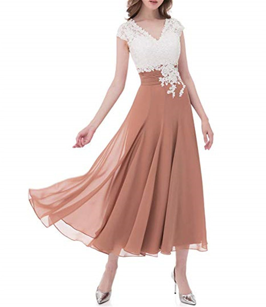 Cheapest bridesmaid Dress Ivory Lace Top Chiffon Button V-Neck Homecoming Dress Plus Size Mother of The Bride Dresses of Tea length