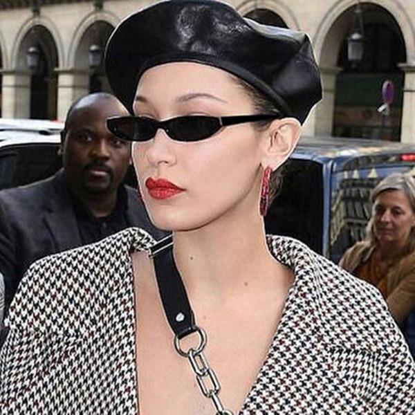 Atractivo del diseñador retro del rectángulo gafas de sol de mujer de marca Marco Pequeño Negro Blanco vintage Sun de la manera gafas de sol Lentes de feminino