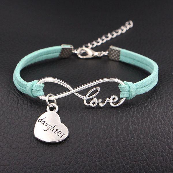 New 2018 Silver Infinity Love Heart Daughter Charm Bracelets Punk light green Leather Suede Inspirational Bangles Handmade Women Men Jewelry
