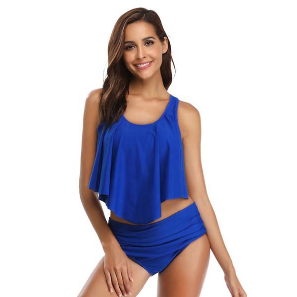 Women Swimsuit 2 Piece Swimwear Hot Sexy Bikini Top with High Waisted Bottom 2019 Beach Wear Hot Spring Resort Suits