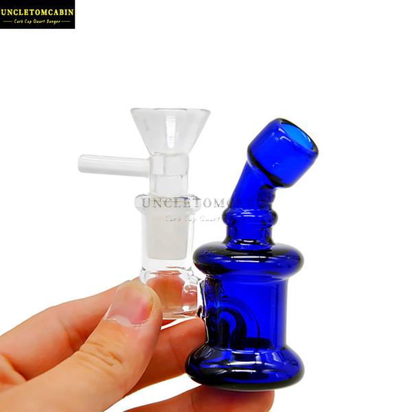 Mini épais Heady barboteur en verre Bong Rig huile conduites d'eau bangs eau du tuyau du brûleur à huile en verre gréements dab Carb Cap Dab outil Accessorie