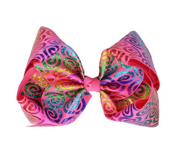 "8"" Graffiti Ribbon vortex JoJo Bow Hair Clips For Girls Princess Handmade Hair Bows Hairgrips Kids Hair Accessories 10pcs"