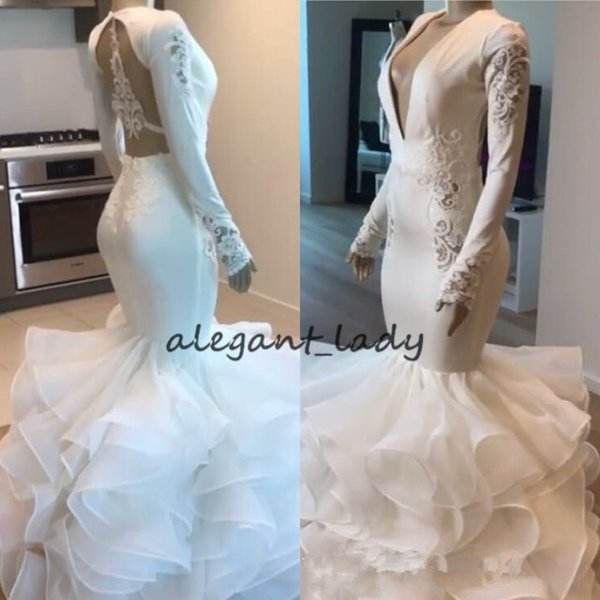 2019 Ruffles tiered skirt Bridal Gowns Gorgeous V-Neck Lace Applique Long Sleeve Mermaid Beach Party Seaside Wedding Dresses