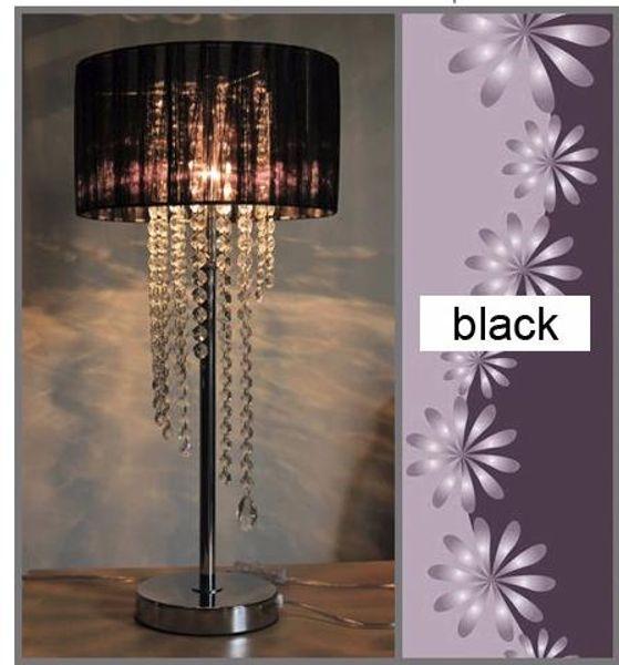 Евро современная простая ткань текстильная настольная лампа спальня прикроватная лампа исследование стол для чтения Кристалл E14 свадебные украшения настольная лампа