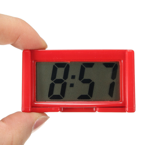 4 Colors Automotive Digital Car LCD Clock Self-Adhesive Stick On Time Portable - Red