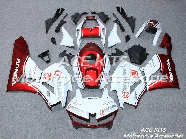 ACE KITS Carenado de motocicleta para HONDA CBR600RR F5 2013-2018 Inyección o Compresión Carrocería Rojo Blanco QQA54
