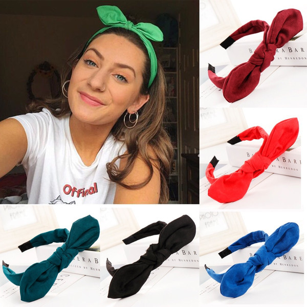 Fashion Bow Knot Women Hair Head Hoop Simple solid color Hair Headband Accessories Headband Scrunchies Hairband