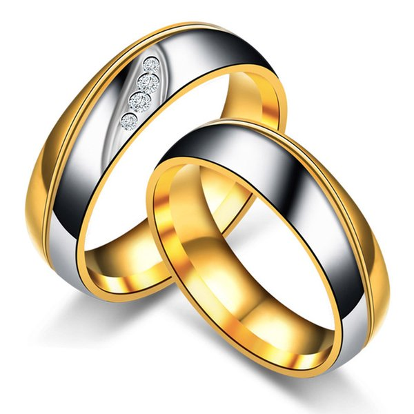 Cross Border Ring Stainless Steel Crystal Ring Diamond Couple Wedding Rings Band Ring Fashion Jewelry Drop SHip