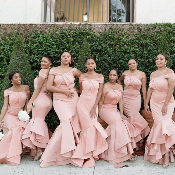 2019 modest African Nigerian spaghetti pink Satin Mermaid off the shoulder Bridesmaid Dresses Tiered Wedding Guest Maid Of Honor Dresses