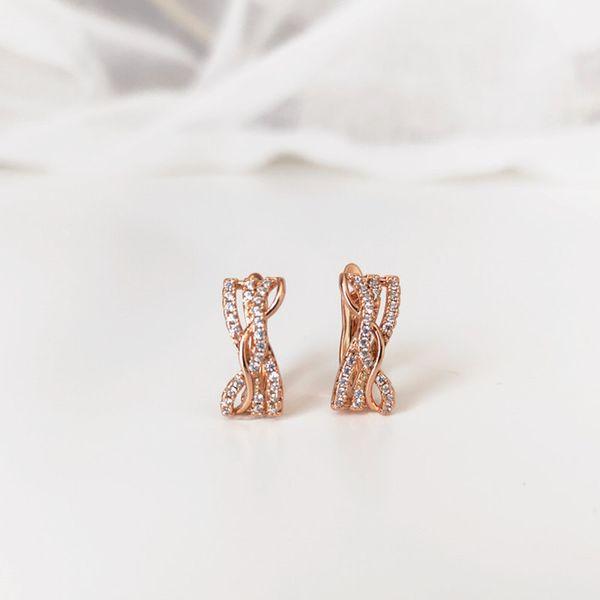 Unregelmäßige Ohrringe Farbe 585 Roségold Zirkon Intarsien Schmuck Feiertagsgeschenk Hochzeit Schmuck Jahrestag Mode glänzend klassisch