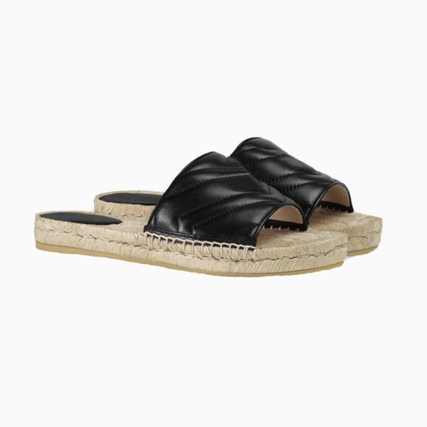 Cuir de luxe Espadrilles Sandale Designer Lady Straw Cord Plateforme Chaussures Chaussures Semelle En Caoutchouc Plat Casual Pantoufle Double Métal Chaussures de plage 4 couleurs