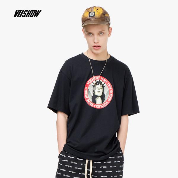 VIISHOW 2019 Лето новый Черная футболка с короткими рукавами для мужчин с круглым вырезом с принтом мужская рубашка с короткими рукавами и прохладной рубашкой TD1460192