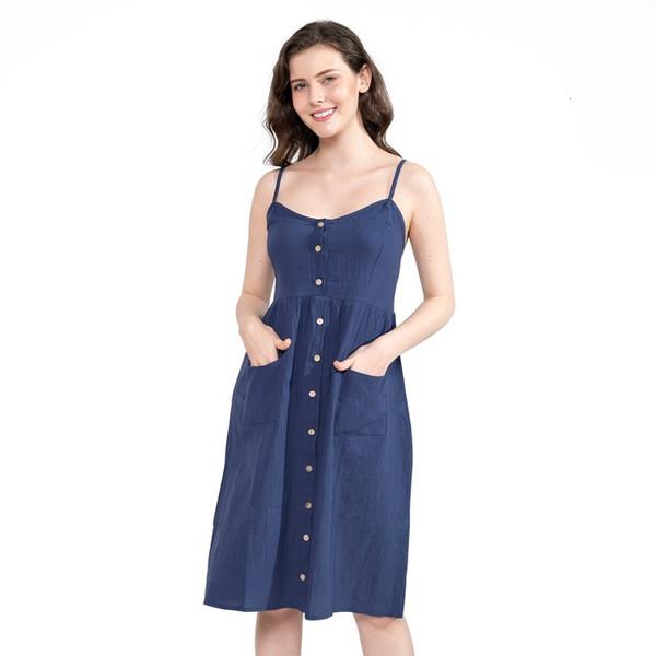Ladies Sexy Bow Backless Beach Summer Dress Women Cotton Deep V Neck Buttons Female Off Shoulder Pockets Midi Dresses Vestidos S19709