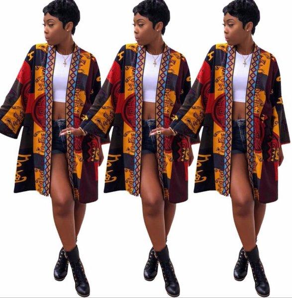 Nueva moda Medio Chaquetas Largas Primavera Verano tipo Albornoz chaqueta Vintage Flora Imprimir Abrigos Para Mujer