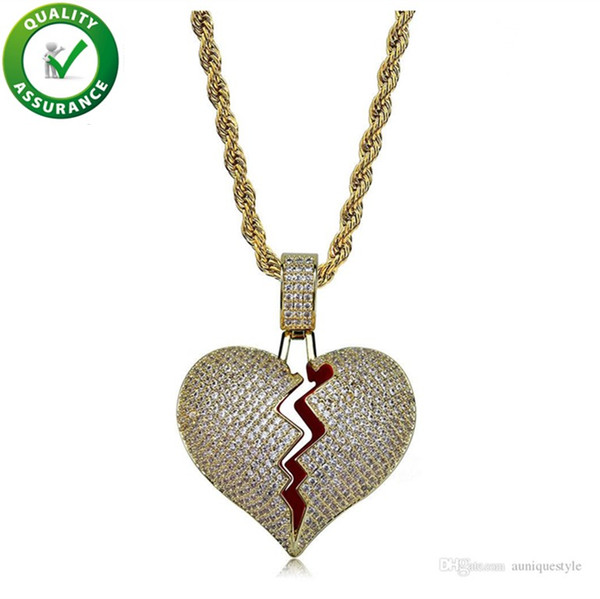 Hip Hop Jewelry Iced Out Pendant Necklace Mens Gold Chain Pendants Bling Diamond Luxury Fashion Solid Heart Break Micro Pave CZ Lover Gift