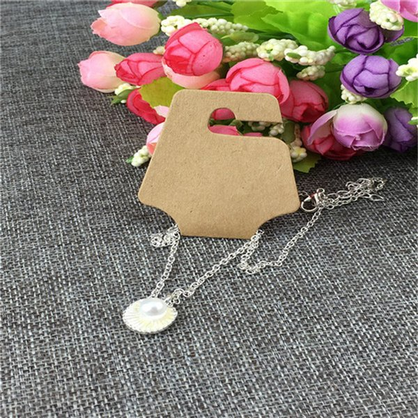 New Arrival Kraft Paper Jewelry Creative Design Necklace Cards Blank Package Brown Display Accept Custom Logo 12x5cm 100Pcs/Lot