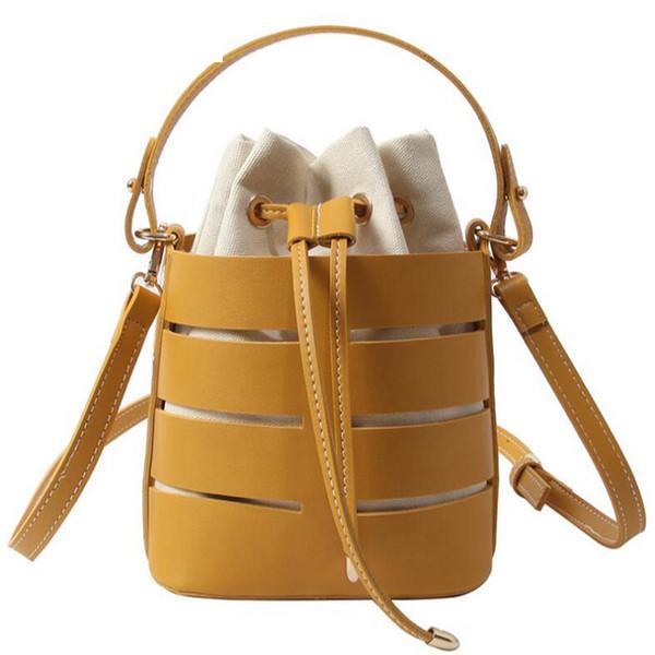 Summer Chic Fashion Hollow Bucket Bag para mujeres bolsa de playa Pu cuero bolsas de hombro conjunto lazo Messenger Bag Beige 2019 Lw-102