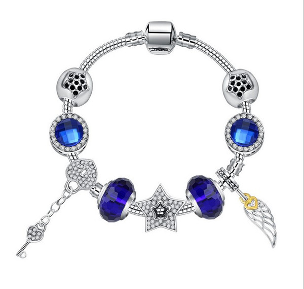 925 Murano Glass Bracelet Five Stars Charm Beads fit Sterling Silver Pandora Charm Bracelet Jewelry Bangle DIY Clover Dangle Crystal Pendant