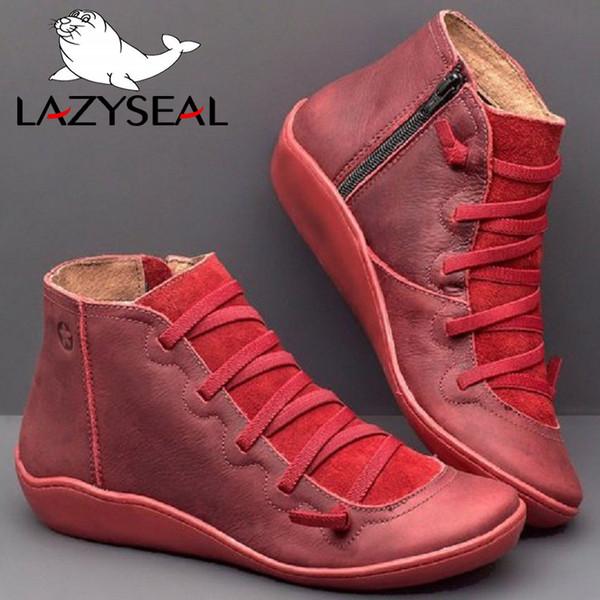 LazySeal Weichleder Ankle Boots Herbstweinlese schnüren sich oben Frauen-Schuh-flache Ferse Stiefel Weibliche Reißverschluss-Kurzschluss große Größe 35-43