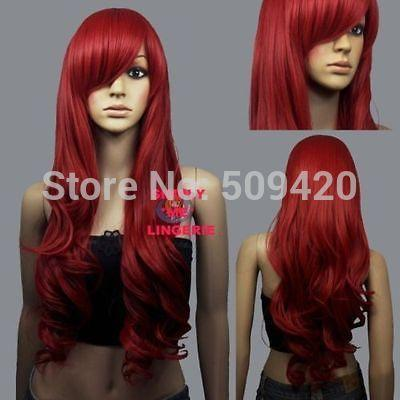 "p5983Q>>>HOT Sexy Fashion Big Spiral Curl Red Cosplay hair Wigs 30"" Long"