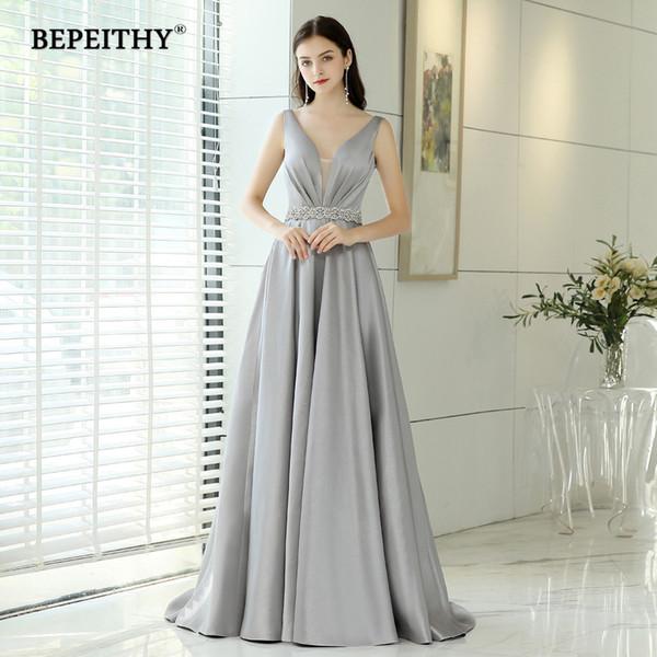 Abendkleider Vestidos de Noite Longo Com Cinto De Cristal Do Vintage Decote Em V Elegante Formal Vestido Robe De Soiree Barato Prom Dress 2019