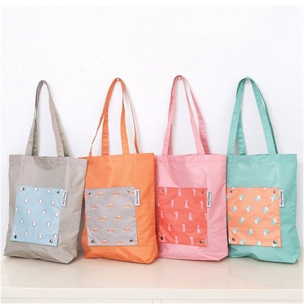 Folding Supermarket Storage Bags Nylon Cute Animal Printing Shopping Bag Women Handbag Orange Gray Green Color Eco Friendly 5 8yl E1
