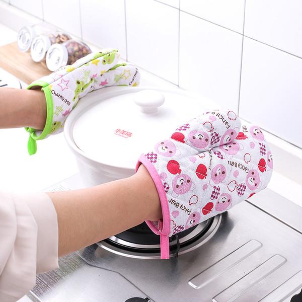 Guanti da forno a prova di calore 2 colori fumetto cotone addensato guanti da cucina guanti da cucina guanti da cucina 50 pezzi DHL